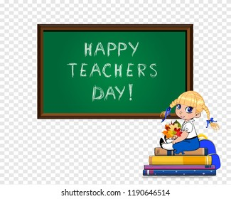 Teacher day clip art images stock photos vectors shutterstock happy teachers day greeting card of cute cartoon school girl sitting on books pile with bouquet m4hsunfo