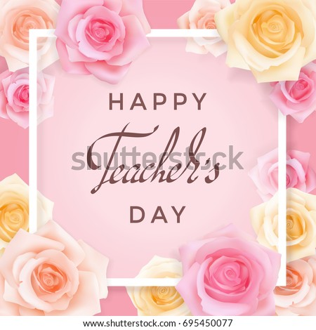 Happy teachers day greeting card transparent stock vector royalty happy teachers day greeting card transparent banner templates with congratulations and roses on a pink m4hsunfo