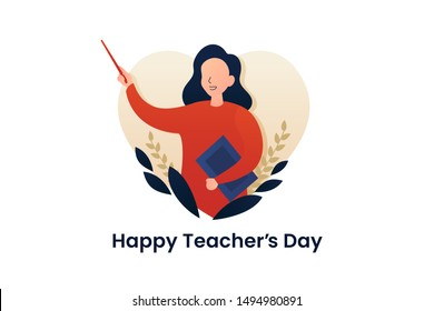 Happy teacher's day poster background concept. Pretty Woman Teacher explaining gesture with beautiful flower ornament and love heart frame. vector flat illustration creative graphic design