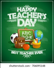 Happy teacher`s day poster concept