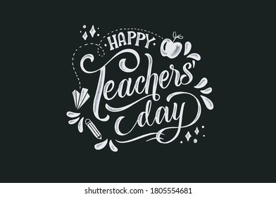 happy teachers' day, unique hand-drawn typography poster. Vector art. Great design element for congratulation cards, banners and flyers.