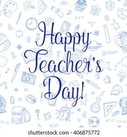 Happy Teachers day! Vector greeting card.