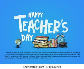 happy teachers day vector illustration with school equipment for poster, brochure, banner and greeting card