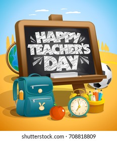 Happy teacher`s day vector illustration