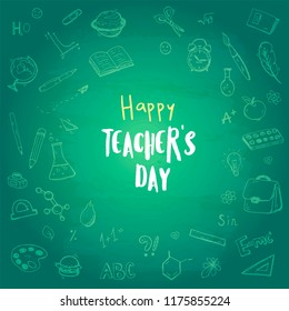 Happy teacher's day. Vector postcard.