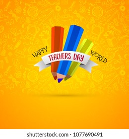 Happy teachers day vector typography emblem isolated on bright yellow background with education symbols doodle pattern. Modern flat design for greeting card, logo, stamp or banner.