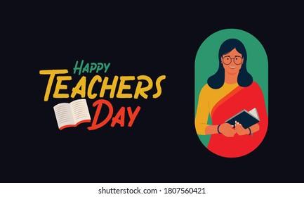 Happy Teachers Day vector typography set design with Indian women easy to edit vector