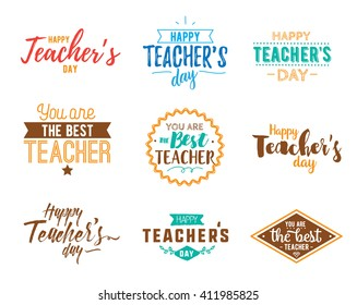 Happy teachers day vector typography set. Lettering design for greeting card, logo, stamp or teacher's day banner.