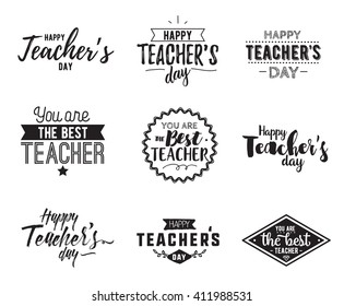 Happy teachers day vector typography set. Lettering design for greeting cards, stamps, etc