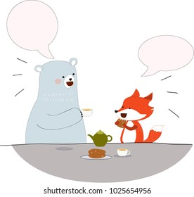 Happy teddy bear and fox are friend talk and smile, satisfied feeling, cute cartoon flat design, hand draw doodle comic style, illustration vector