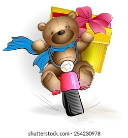 Happy Teddy bear riding a motorcycle with a gift. A greeting card. Vector illustration
