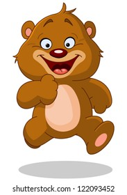 Happy teddy bear running
