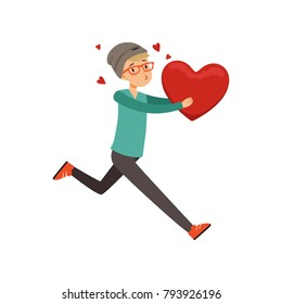 Happy teen boy running with red heart, Happy Valentines Day concept, love and relationships vector Illustration