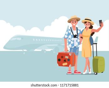 Happy  teen traveler.Vector illustration cartoon character.
