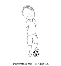 Happy teenage boy with ball, ready to play football / soccer - original hand drawn illustration