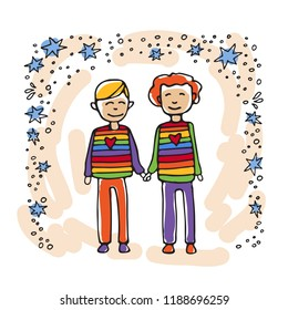 Happy teenage gay couple. Boys couple. Doodle style. Design element for posters or brochures.