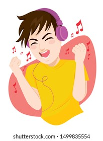 Happy teenager man listening to music and dancing using big headphones