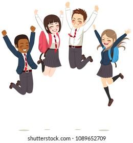 Happy teenager students wearing uniform jumping celebrating success having fun