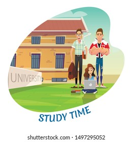 Happy Teenagers Back to University after Holidays. Students in Yard. Girl Sits with Laptop on Grass. Boy in Glasses with Book and Sports Guy Stand near. Study Time Promotion. Vector Flat Illustration