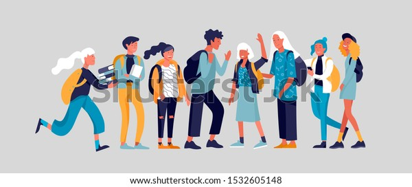Happy teenagers and students. Group of friends character are laughing and talking. Stylish smiling boys and girls. Young generation pupils or millennials. Colorful cartoon concept vector illustration