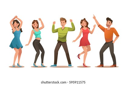 Happy teens character design. Teens dancing vector.