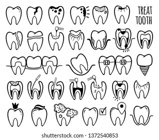 Happy teeth set. Dental personage vector illustration. Dental concept for your design. Illustration for children dentistry. Oral hygiene, teeth cleaning.Treatment