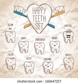 Happy teeth set. Dental vector cartoons. Illustration for children dentistry. Crumpled paper background.