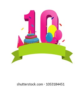 Happy tenth birthday card vector with cake and balloons