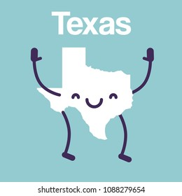 Happy Texas Map Icon. Vector Character Illustration of Texan Map