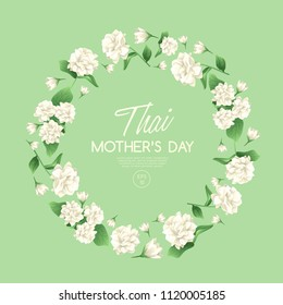 Happy Thai Mother's day card template with White Jasmine : Vector Illustration