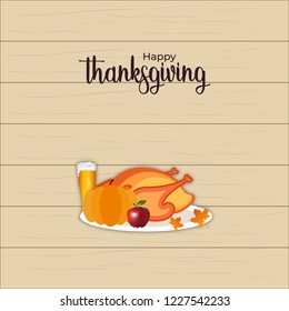 Happy thanks giving day, autumn festival. family traditional dinner. dinner party invitation card template design. vector illustration.