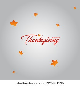 Happy thanks giving poster, wallpaper and greeting card design on grey background with maple leaf.