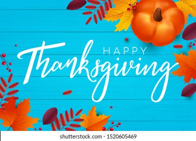 Happy Thanksgiving Autumn Background. Can use for greeting card, sale banner, web project