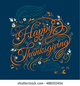 Happy Thanksgiving, Autumn  Background, Typography ,vector Illustration