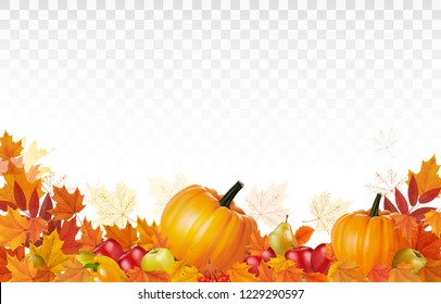 Happy Thanksgiving Background with colorful leaves and autumn vegetables Vector.