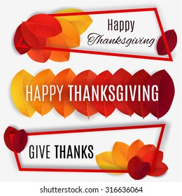 Happy Thanksgiving banner. Thanksgiving background. Vector autumn leaves.