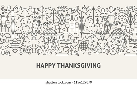 Happy Thanksgiving Banner Concept. Vector Illustration of Line Web Design.
