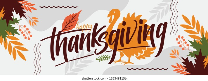 happy thanksgiving banner design with typography, turkey bird and abstract leaves background.