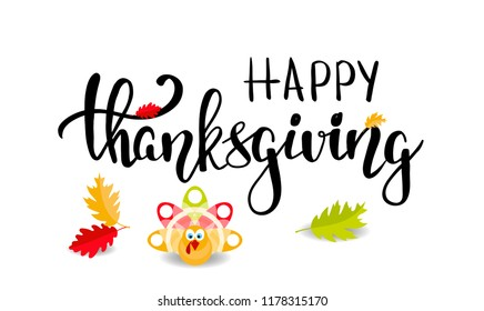 Happy thanksgiving brush hand lettering and turkey for greeting cards and poster, calligraphy vector illustration