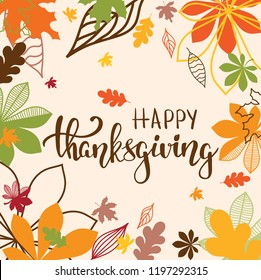 Happy thanksgiving brush hand lettering for greeting cards and poster. Thanksgiving calligraphy, vector illustration