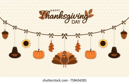 Happy Thanksgiving card or background. vector illustration.