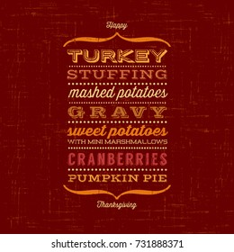 happy thanksgiving card menu list typical stock vector royalty free