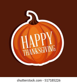 happy thanksgiving card with pumpking icon over red background. colorful design. vector illustration