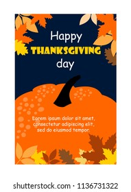 happy thanksgiving card. pumpkins and decorative dry leaves