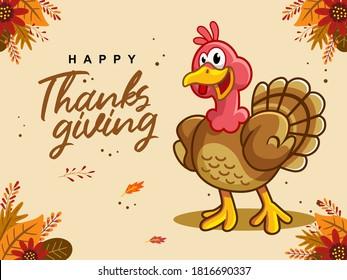 Happy Thanksgiving cartoon illustration card