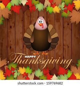 Happy Thanksgiving cartoon turkey - card vector illustration