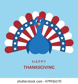 Happy  Thanksgiving celebration. Cartoon  turkey bird in colors of flag of USA. Vector  illustration on blue background.