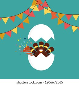Happy thanksgiving celebration icon. Thanksgiving turkey cartoon in cracked egg with confetti popper. Vector illustration