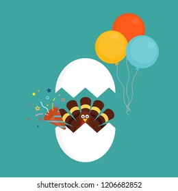 Happy thanksgiving celebration icon. Thanksgiving turkey cartoon in cracked egg with confetti popper and bunch of balloons. Vector illustration
