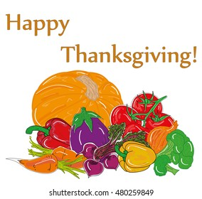 Happy Thanksgiving composition on white. vector illustration.